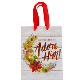 Renewing Faith, O Come Let Us Adore Him Christmas Gift Bag, White & Bronze, Multiple Sizes Available