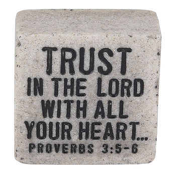 LCP Gifts, Proverbs 3:5-6 Trust In The Lord Scripture Stone, 2 1/4 x 2 1/4 inches