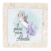 Product Concept Manufacturing, Abuela Spanish Tabletop Plaque, Natural Stone, 4 x 4 inches