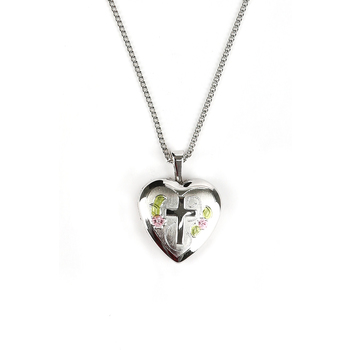 H.J. Sherman, Silver Plated Heart Locket With Floral Design, 18 inches