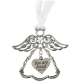 Abbey and CA Gift, You are Loved Angel Ornament, Silver, 3 Inches