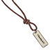 Soul Anchor, 1 Timothy 6:11 Man of God Tag Necklace, Zinc Alloy and Faux Leather, Silver and Brown, 24 inches