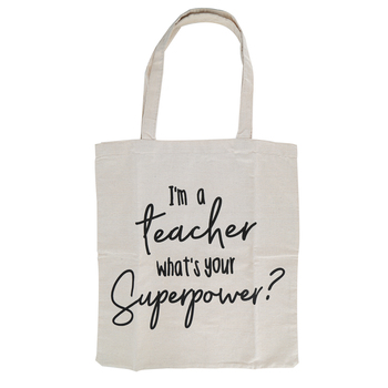 Designs Direct Creative Group, Teacher Superpower Canvas Tote Bag, Cream and Black, 14.50 x 15.50 Inches