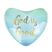 Faithworks, God Is Good Heart Shaped Magnet, Glass, Blue & Gold, 1 3/4 x 1 3/4 inches