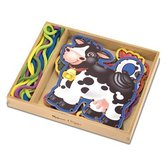 Melissa & Doug, Wooden Lace and Trace Farm Animals, Ages 3 to 5 Years Old, 10 Pieces