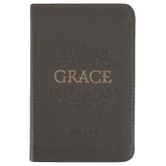 Christian Art Gifts, Ephesians 2:8-9 Grace Pocket-sized Journal, Leather, Taupe, 192 Pages