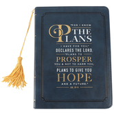 Christian Art Gifts, Jeremiah 29:11 LuxLeather Journal, Navy and Gold, 5 x 6 7/8 inches, 240 Pages