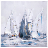Embellished Sailboats Wall Decor, Canvas, 22 x 22 1/8 x 1 Inches