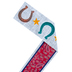 Goin' West Collection, Wide Border Trim, 38 Feet, Horseshoes on Denim with Burgundy Paisley