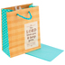 DaySpring, Lord Bless You Burlap Plaid Gift Bag with Tissue, Tan and Turquoise, 6 3/4 x 5 x 2 3/4   inches