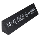 Be A Nice Human Wood Block Decor, Black and White, 11 3/4 x 2 x 2 5/8 inches