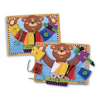 Melissa & Doug, Basic Dressing Skills Puzzle Board, Ages 3 to 5 Years Old, 6 Pieces
