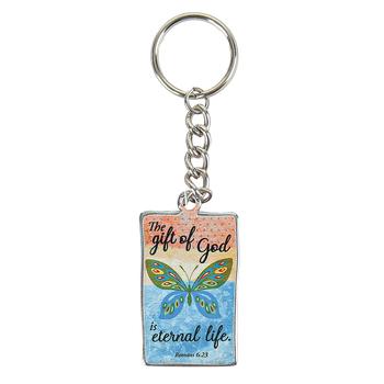 CTA, Forgiven & Free Keychain, Romans 6:23, 1 1/4 x 2 Inches