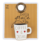 Bella Grace, Coffee and Jesus Lapel Pin, Zinc Alloy, White, 7/8 inch