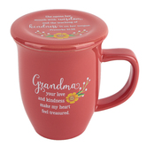 Abbey and CA Gift, Grandma Coffee Mug with Coaster, Coral, 14 Ounces