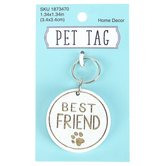 Best Friend Paw Print Pet Tag, MDF, Gold & White, 1 1/4 inches