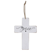 Grace Wood Wall Cross, Distressed White and Black, 6 5/8 x 4 5/8 x 1/4 inches
