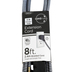 Cordinate, Designer 3-Outlet Extension Cord, 8-Foot, Indoor, Braided Black and White Chevron