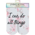 Living Royal, I Can Do All Things Ankle Socks, Polyester, White and Pink, One Size Fits Most
