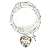 Faith in Bloom, Deuteronomy 31:8 Bead Wrap Bracelet with Heart and Cross Charms, Zinc Alloy, Silver