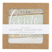 Legacy Publishing Group, Farmhouse Chic Coaster Set, 3 3/4 inches, 1 Each of 6 Designs