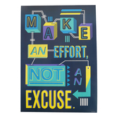 Renewing Minds, Make An Effort Not An Excuse Motivational Poster, 13.25 x 19 Inches, 1 Piece