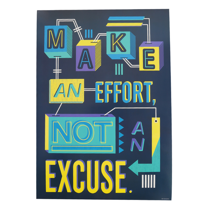 Renewing Minds, Make An Effort Not An Excuse Motivational Poster, 13.25 x  19 Inches, 1 Piece | Mardel | 3648912