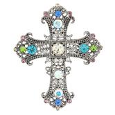 Modern Grace, Psalm 16:8 Filigree Cross Brooch, Silver, 2 1/2 x 2 Inches