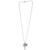 Collectables America, Cross Necklace with Crystal and Purple Flower, Rhodium and Crystals, 16 inches