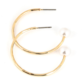 His Truly, Hoop with Pearl Dangle Earrings, Zinc Alloy, Gold