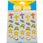 Tyndale, Faith Symbols Stickers, Faith That Sticks, 6 Sheets, Silver Foil and Multi-Colored, 150 Stickers