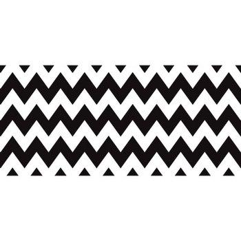 Isabella Collection, Wide Chevron Border Trim, 38 Feet, Black and White