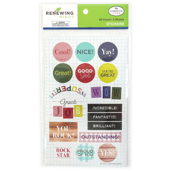 Farmhouse Lane Collection, Motivational Shaped Stickers, Multi-Colored, Pack of 85