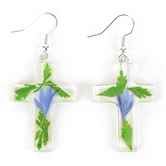 Faith in Bloom, Clear Cross Dangle Earrings, Resin and Dried Flowers, Silver