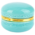 Macaron Jewelry Box, Ceramic, Blue and Gold, 2 1/2 x 2 1/16 inches