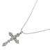 Bella Grace, Crystal Cross Pendant Necklace, Zinc Alloy & Brass, Silver