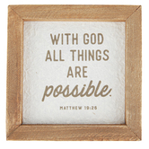 Christian Brands, Matthew 19:26 With God Wall Decor, Wood, Brown, 5 x 5 x 3/4 inches