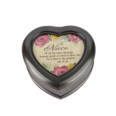 Carson Home Accents, Niece Many Blessings Music Box, Beautiful Dreamer, Silver, 5 1/2 x 5 1/4 x 2 1/2 inches