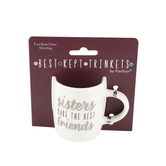 Pavilion Gift, Sisters Make the Best Friends Mini Mug, Bone China, Pink and Silver Metallic, 5   ounces