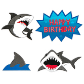 Shark Party Happy Birthday Cut-Out Decorations, Blue, Gray, Black, White, and Red, 10 Count