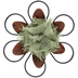 Metal Art, Metal and Burlap Blossom, Burnt Orange and Sage, 7 inches
