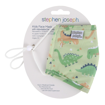 Stephen Joseph, Dinosaur Face Mask for Kids, Cotton, 6 1/2 x 4 1/4 inches