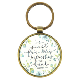 Christian Art Gifts, Proverbs 27:9 Sweet Friendship Keyring, Brass, Antique Gold, 2 3/4 inches
