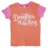 NOTW, Daughter of the King, Kid's Short Sleeve Ringer T-shirt, Poppy/Fuchsia, Youth X-Small-Youth Large