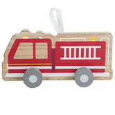 Fire Truck with Wheels Table Decor, Wood, Red, 1 9/16 x 7 15/16 x 4 Inches