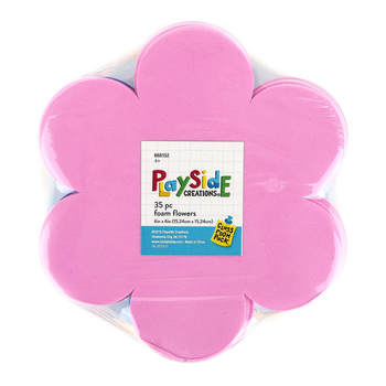 Playside Creations, Foam Flower Stack, 6 Inches, Assorted Colors, 35 Count
