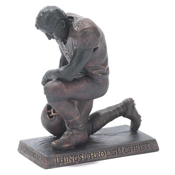 Dicksons, Philipppians 4:13 Praying Football Player Figurine, Resin, Bronze, 6 x 5 inches