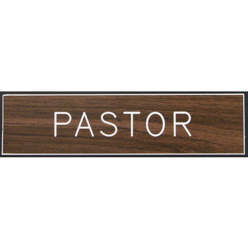 Swanson, Pastor Sign, Brown, 2 x 8 inches