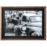 Flower Truck Wall Decor, MDF, Black and White Photo, 16 x 22 x 1 1/4 inches