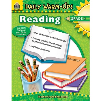 Teacher Created Resources, Daily Warm-Ups Reading Workbook, Reproducible Paperback, 176 Pages, Grade 4